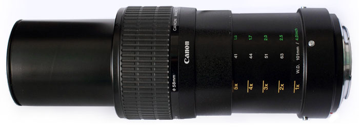 Canon MP-E 65mm F/2.8 1-5X Macro Distance-Magnification Scale