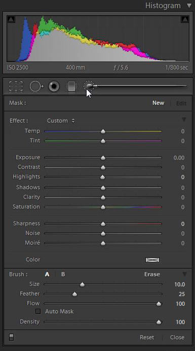 The Adjustment Brush Palette
