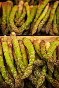 A pile of fresh asparagus at a French market - magnifique!